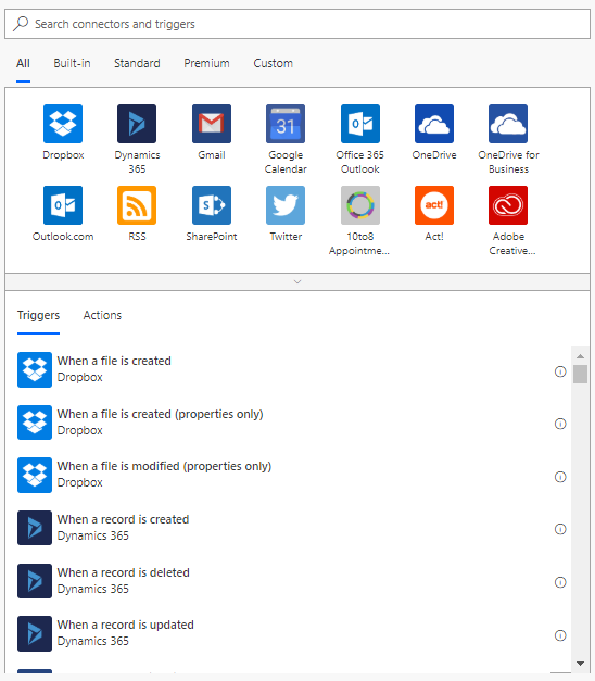Microsoft Flow Triggers