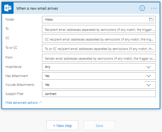 Microsoft Flow When a New Email Arrives